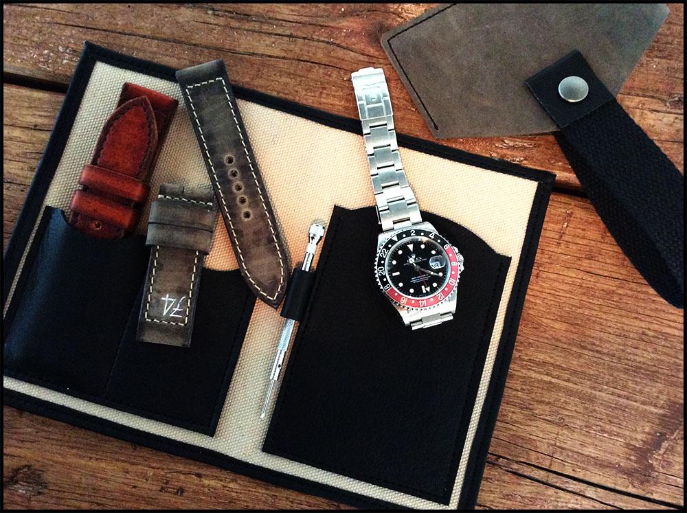 ,Watch traveler case - Schwarz / Grau